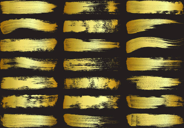 Set of Golden Paint Brush Strokes - Vector Design Elements Note to inspector : Reference image submitted. acrylic painting stock illustrations