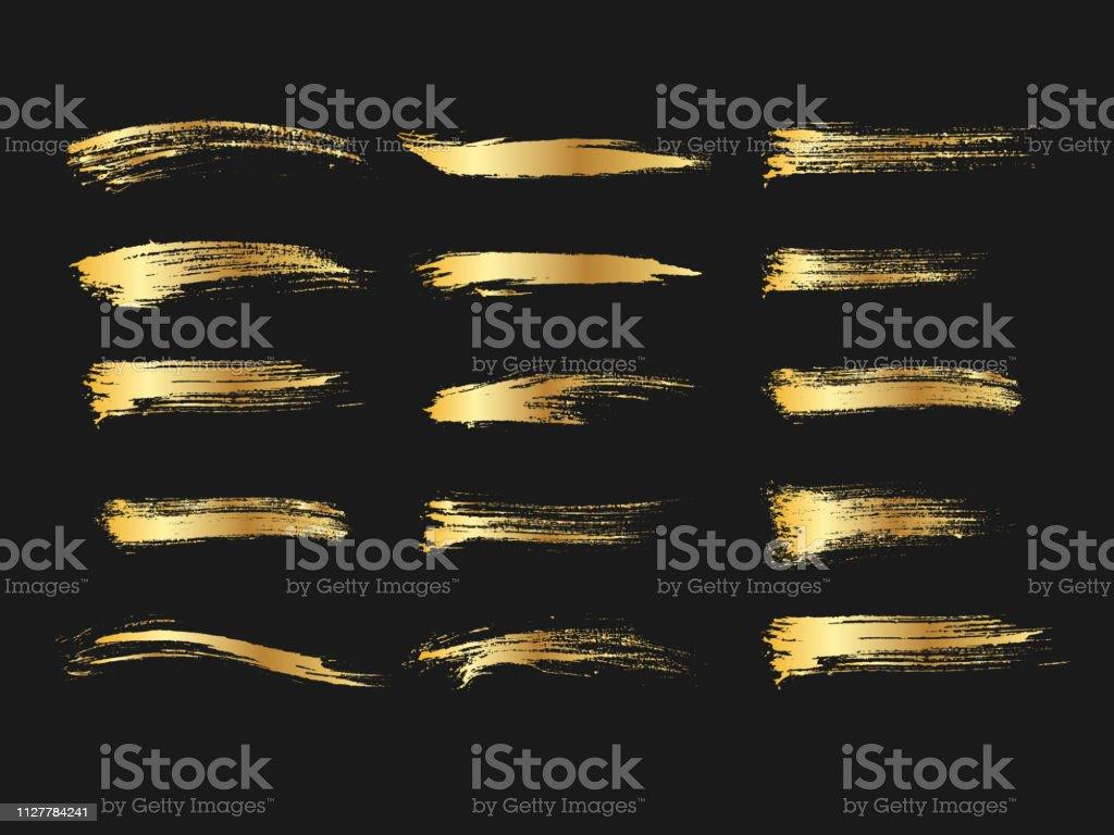 Ensemble de peintures dorées, coups de pinceau dégradé métalliques, brosses, lignes. Éléments de conception artistique. - clipart vectoriel de Abstrait libre de droits