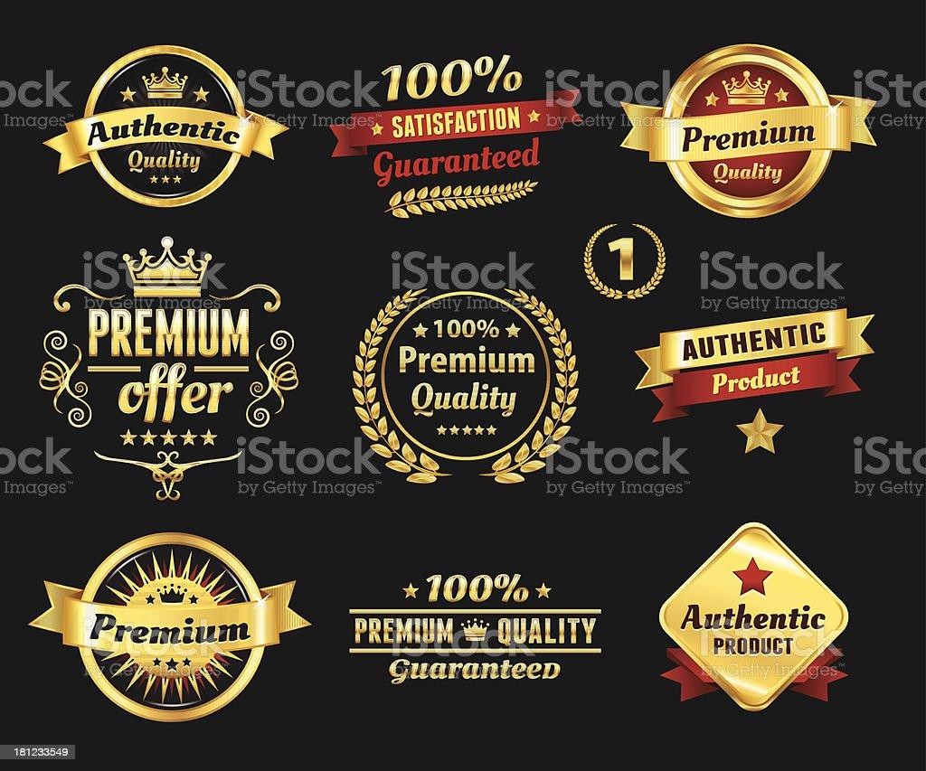 Set Of Golden Premium Badges vector art illustration