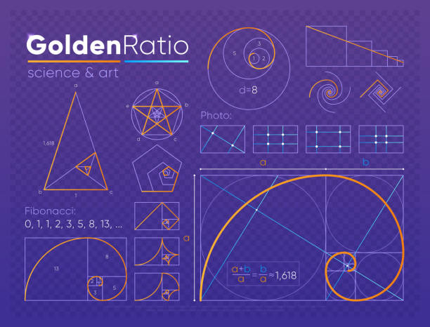 set of golden ratio element - math class stock illustrations, clip art, cartoons, & icons