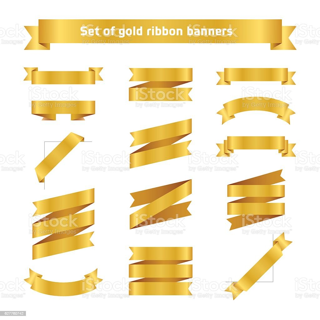 Set of golden ribbon banners. Flat vector gold tape collection. vector art illustration
