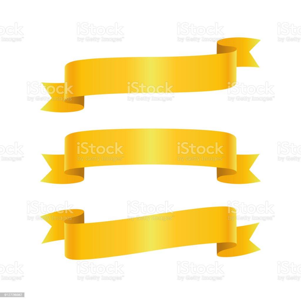 Set of golden ribbon bannes