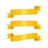 Set of golden ribbon bannes