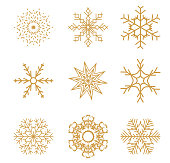 Set of Golden Snowflakes for Christmas design. Vector Illustration EPS10