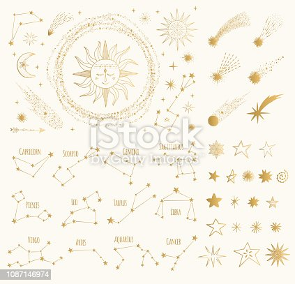 Set of golden space design elements. Zodiac signs. sun, moon, stars, comets. Vector gold illustration. Isolated.