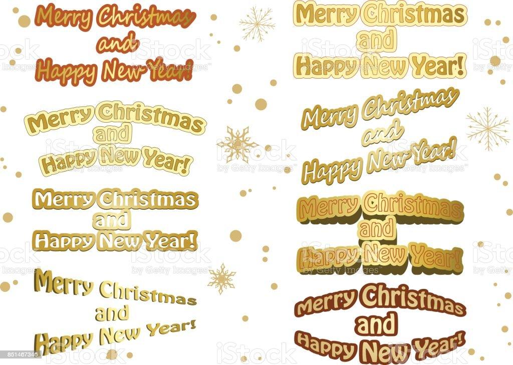 Set Van Gouden Vector Christmas Stickers Prettige Kerstdagen En