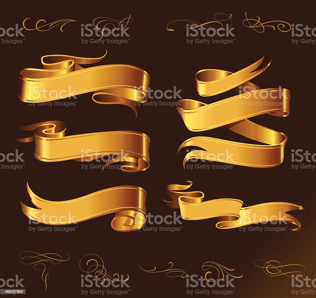 Set of golden vector ribbons for your text vector art illustration