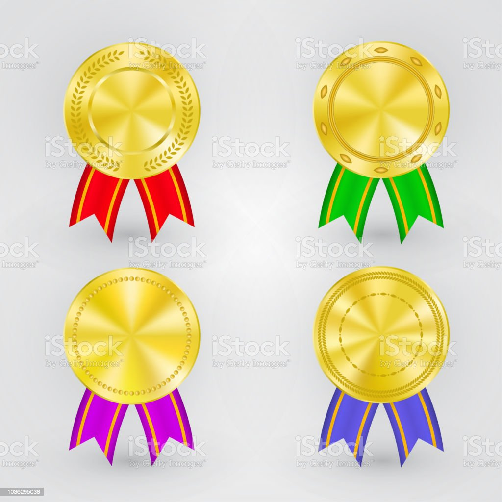 set of golden winner medals with different ribbon colors and