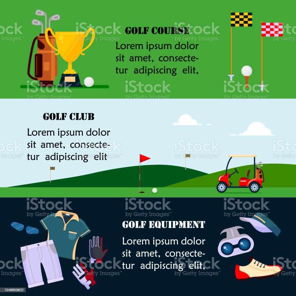 d60d4ccdd Ilustración de Conjunto De Banners De Golf Ropa Y Accesorios Para ...