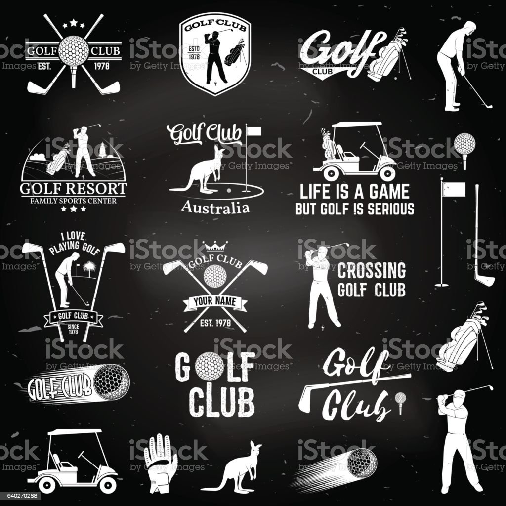 Set of Golf club concept with golfer silhouette. vector art illustration