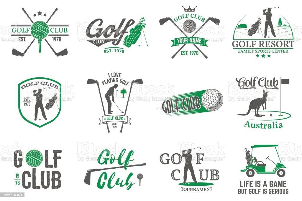 Conjunto de concepto de club de Golf con la silueta del golfista - ilustración de arte vectorial