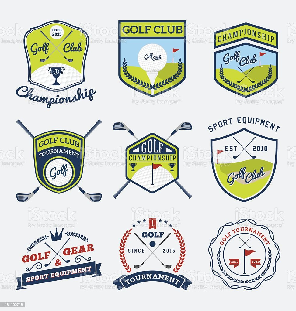 Set of golf club, golf championship badge logo vector art illustration