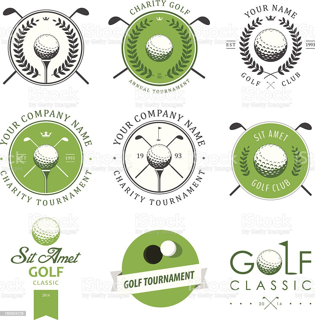 Set of golf club labels and emblems royalty-free set of golf club labels and emblems stock vector art & more images of award