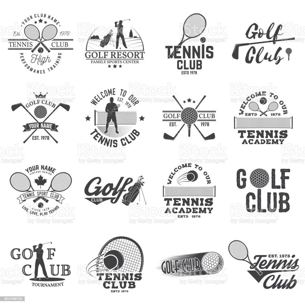 Set de Golf club, concepto de club de tenis - ilustración de arte vectorial