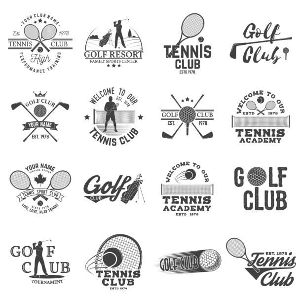 set of golf club, tennis club concept - tennis stock illustrations, clip art, cartoons, & icons