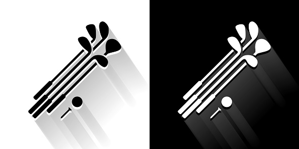 Set of Golf Clubs and Ball Black and White Icon with Long Shadow