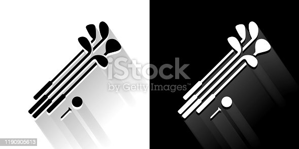 Set of Golf Clubs and Ball Black and White Icon with Long Shadow. This 100% royalty free vector illustration is featuring the square button and the main icon is depicted in black and in white with a black icon on it. It also has a long shadow to give the icons more depth.