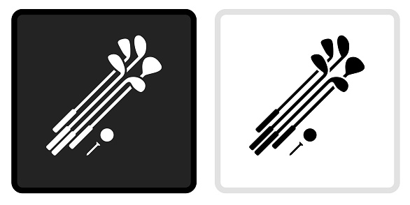 Set of Golf Clubs and Ball Icon on  Black Button with White Rollover. This vector icon has two  variations. The first one on the left is dark gray with a black border and the second button on the right is white with a light gray border. The buttons are identical in size and will work perfectly as a roll-over combination.