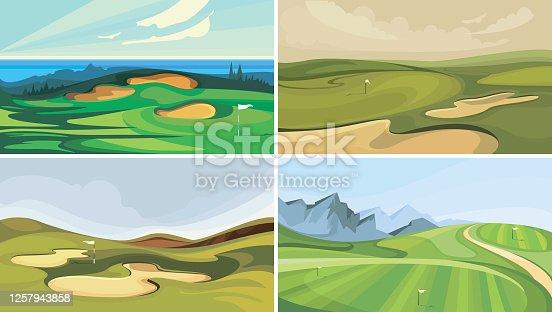 Set of golf courses. Sport fields in cartoon style.