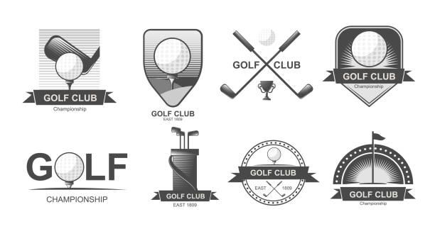 Set of  golf emblems, labels, badges or logos. Lacrosse, hockey sticks. Pool. Set of  golf emblems, labels, badges or logos. Lacrosse, hockey sticks. Pool. golf logo stock illustrations