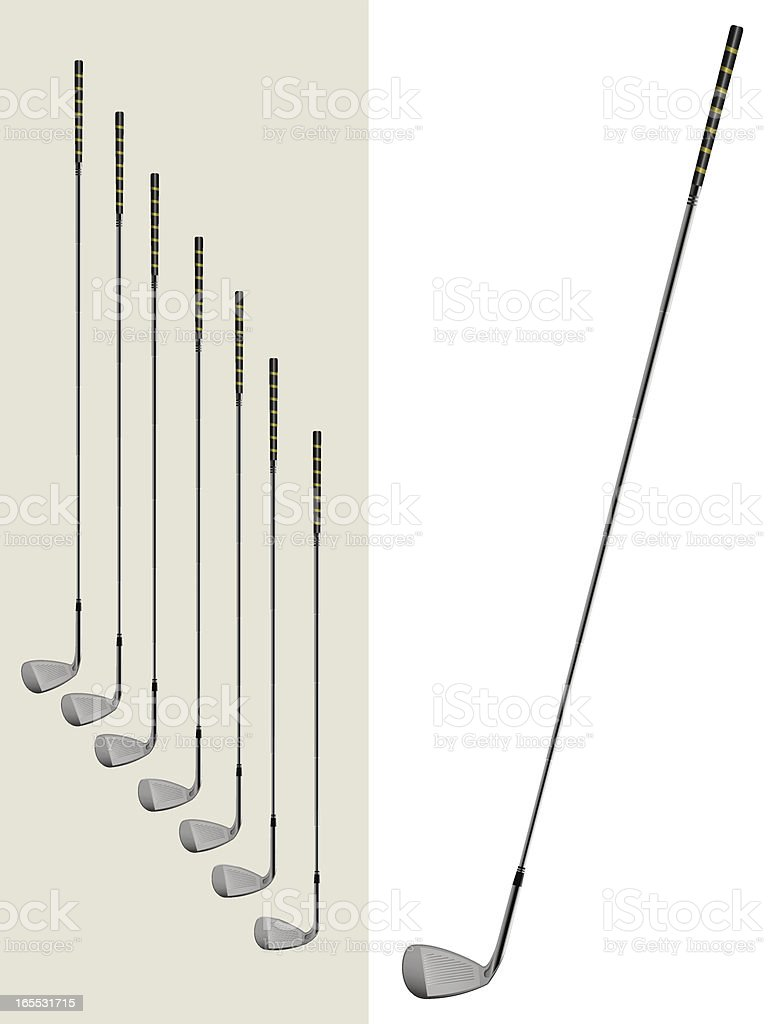 Set of golf irons vector art illustration