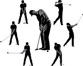Set of Golf Silhouettes - Black and Gray