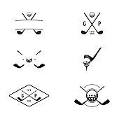 istock Set of Golf sport club labels, team championship signs stock illustration - Vector illustration Indonesia, Golf, Logo, Golf Ball, Golf Course 1291729061