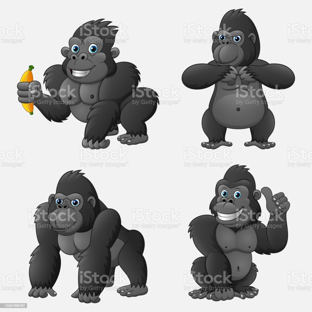 Set of gorilla cartoon with different poses and expressions vector art illustration