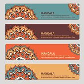Set of gorizontal cards with hand drawn mandala.