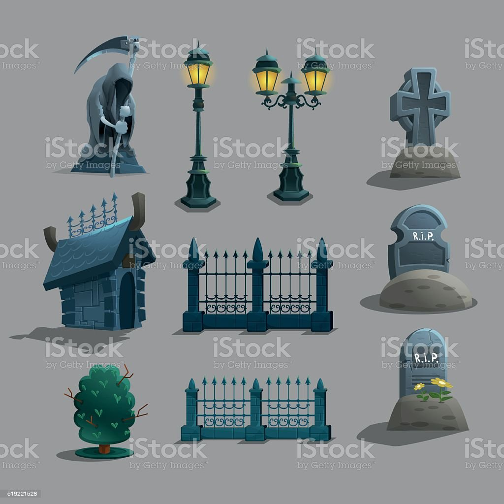 Set of gothic cemetery decorations. Vector illustration. vector art illustration