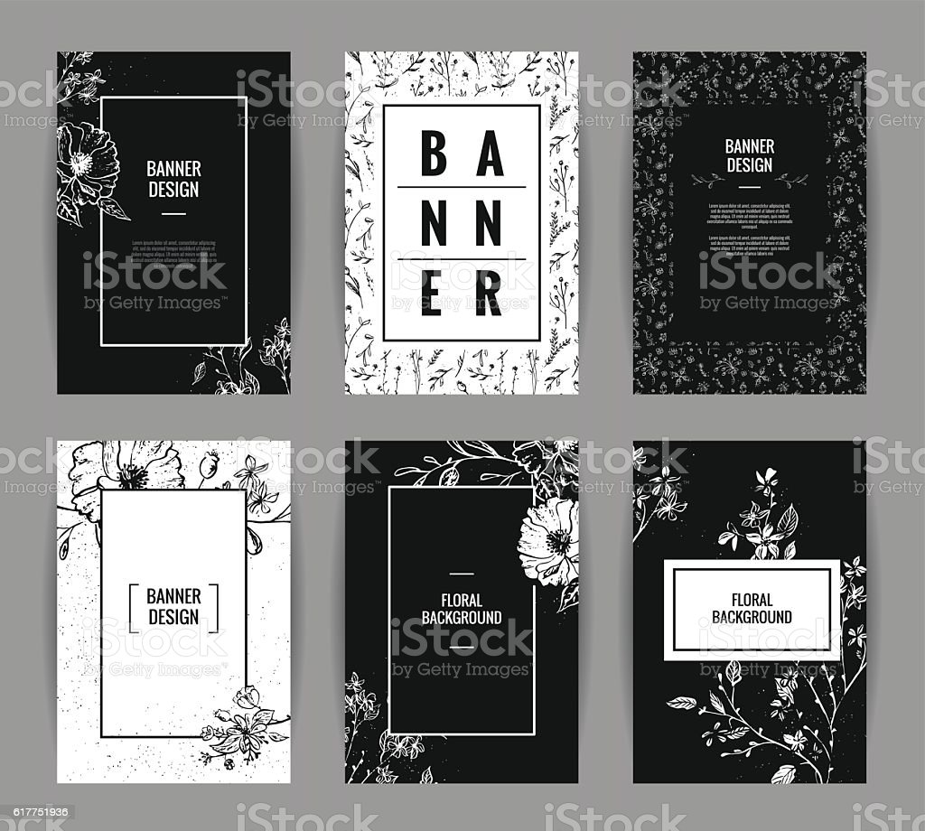 Set of graceful floral banner template design. vector art illustration