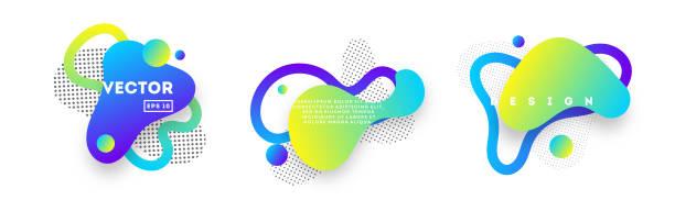stockillustraties, clipart, cartoons en iconen met set van verloop banners met vloeiende vloeibare abstracte vormen. - weer