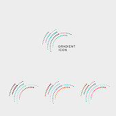 set of gradient curve dots icon