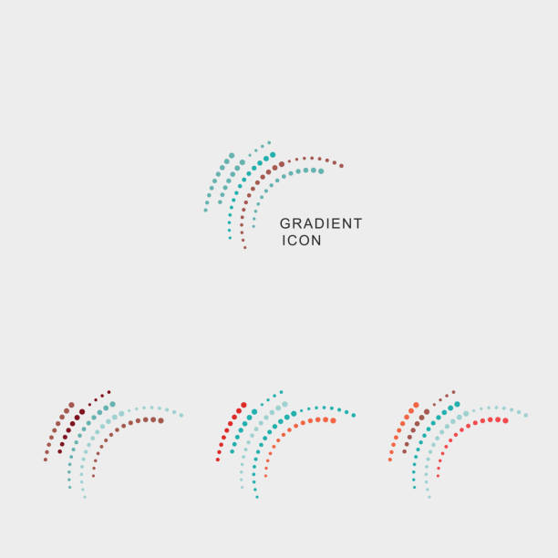 set of gradient curve dots icon - science icons stock illustrations