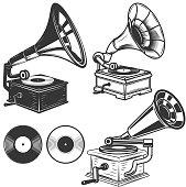 istock Set of gramophone illustrations on white background. Design elements for label, emblem, sign. Vector illustration 696272402