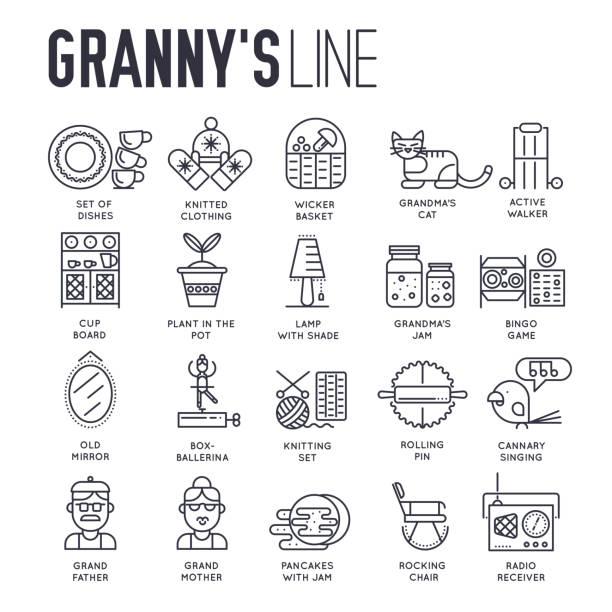 satz von großmutter haus dinge dünne linie symbole. - schrankkorb stock-grafiken, -clipart, -cartoons und -symbole