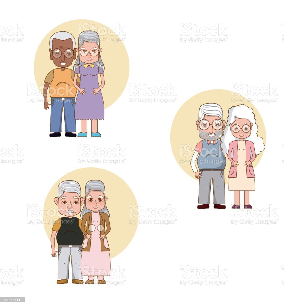 Set of grandparents couple cartoons royalty-free set of grandparents couple cartoons stock vector art & more images of adult