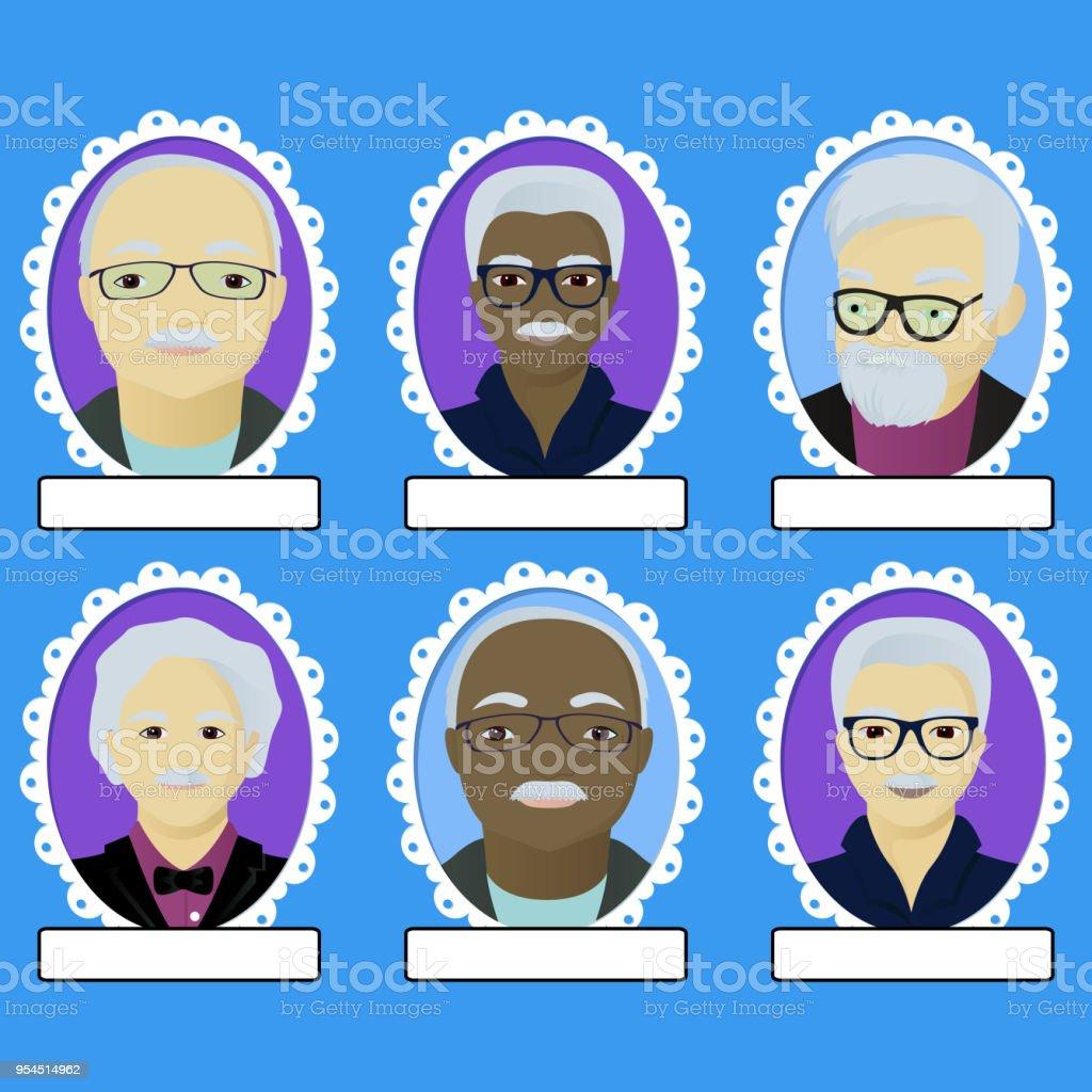 Ilustración de Conjunto De Retratos De Abuelos En Marco Oval y más ...