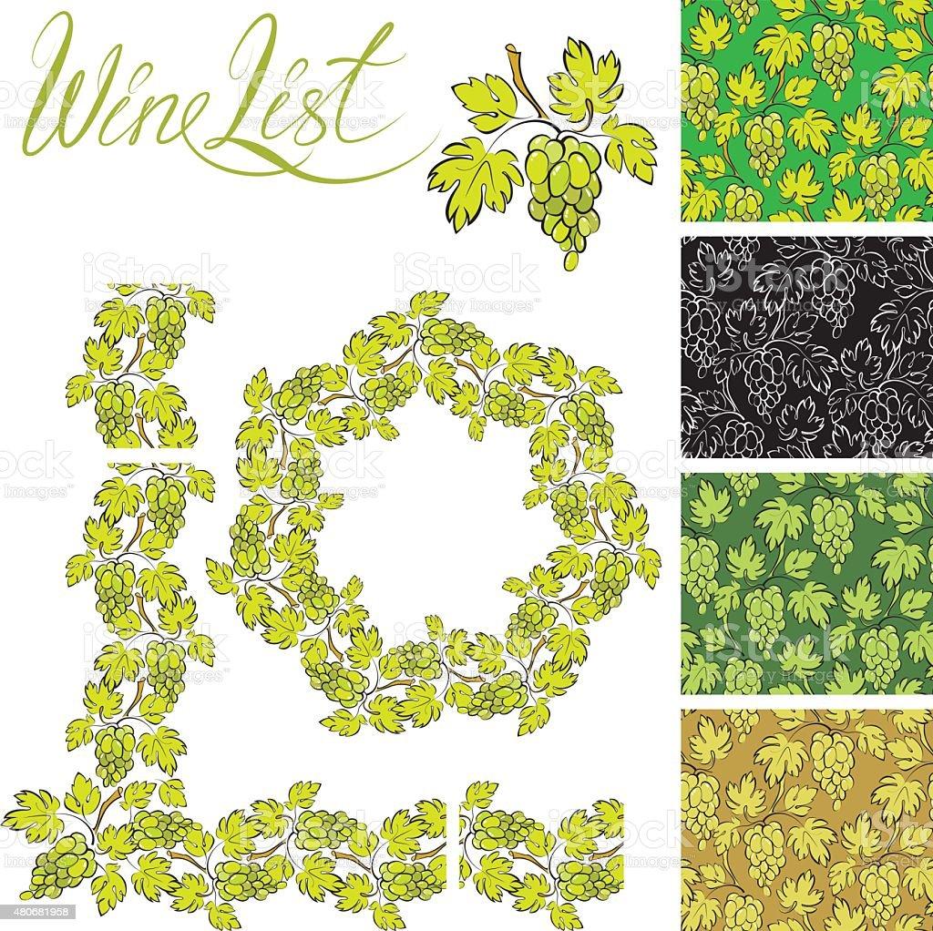 Set Di Cornici E Ripetuto Element Uva Per Etichetta Vino