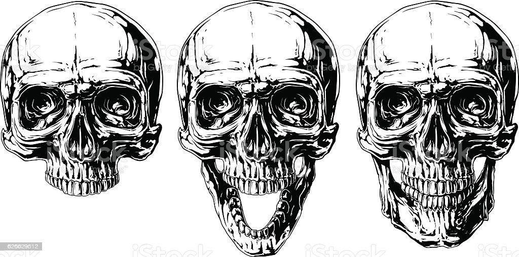 Set Of Graphic Black And White Human Skull Tattoo Stock Vektor Art ...