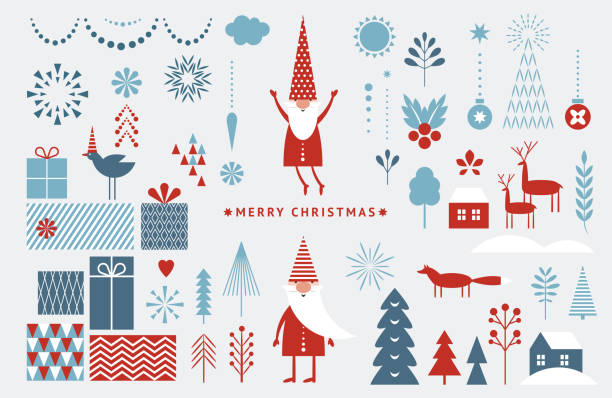 Set of graphic elements for Christmas cards. Gnome, deer, Christmas Trees, snowflakes, stylized gift boxes. Set of graphic elements for Christmas cards. Gnome, deer, Christmas Trees, snowflakes, stylized gift boxes. christmas icons stock illustrations