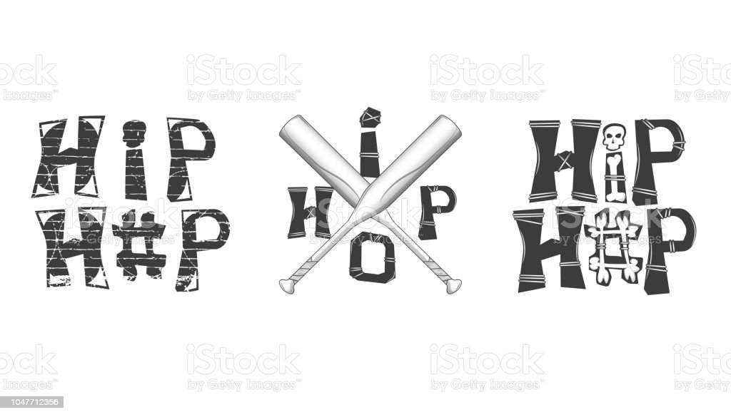 6357f79b3ec Set of graphic elements in rap style. hip-hop inscription with bones.  crossed baseball bats. isolated on white background - Illustration .