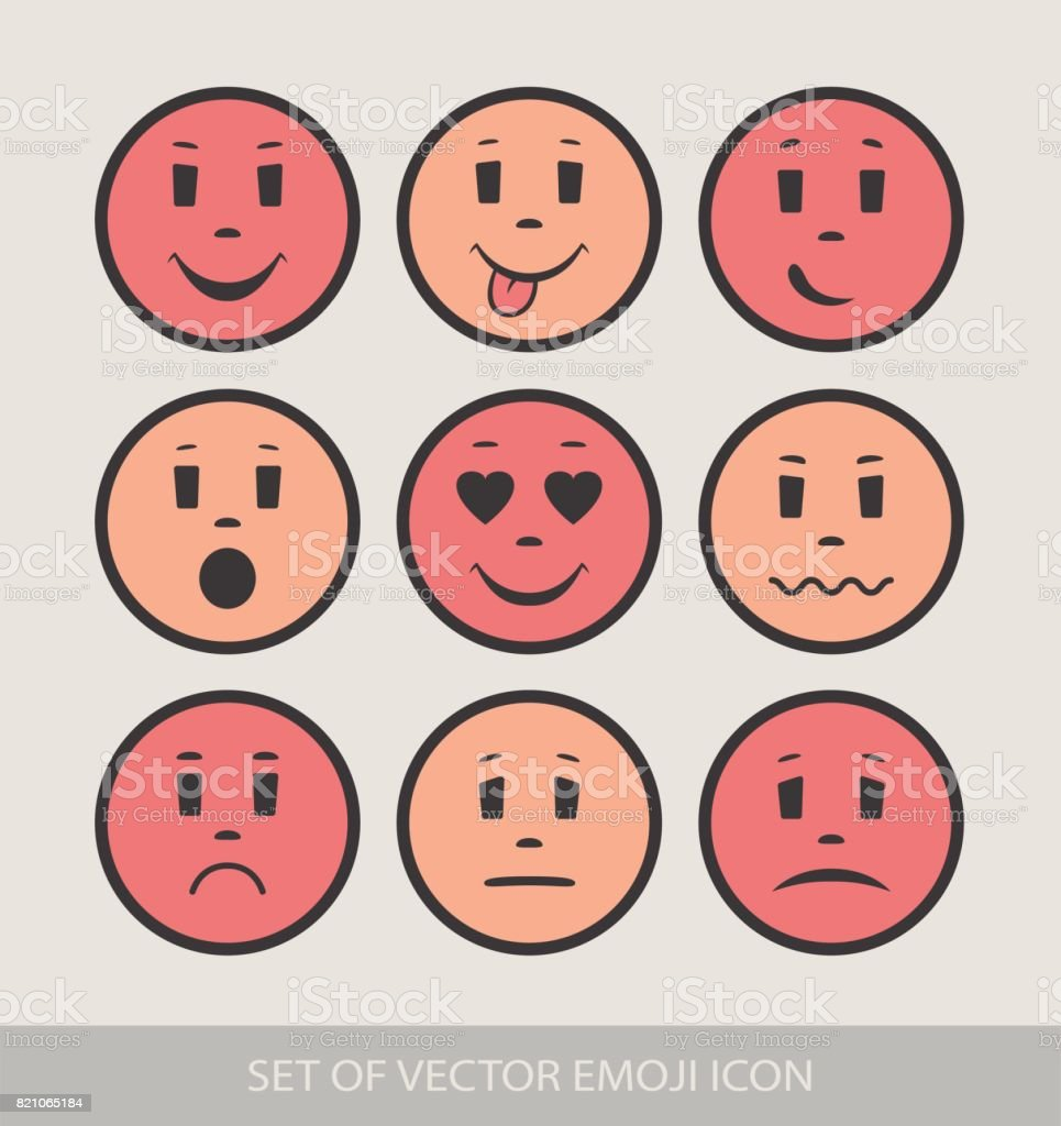 Set of Graphic Emoticons. Collection of Emoji. Smile icons. Isolated vector illustration on white background vector art illustration