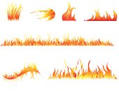 Set of fire elements - layered illustration