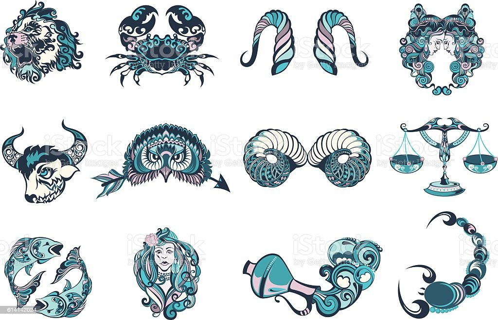 Set of graphic signs of the Zodiac - Illustration vectorielle