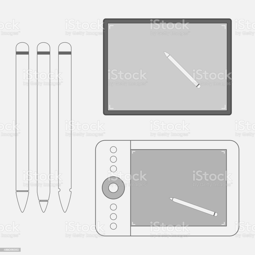 Set of graphic Tablets with Pens vector art illustration