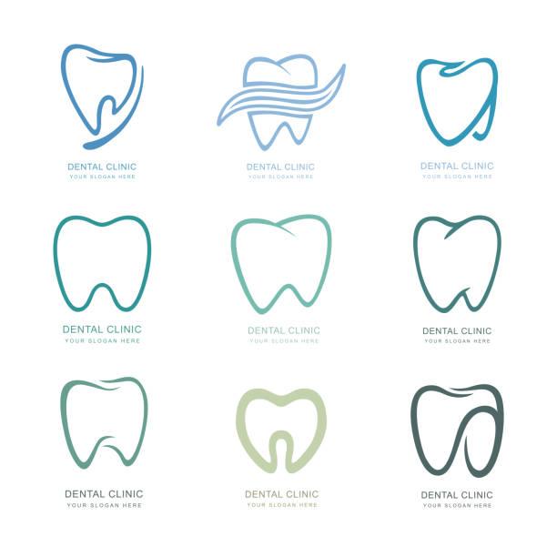 bildbanksillustrationer, clip art samt tecknat material och ikoner med uppsättning grafiska tänder.  dental personlighet vektorillustration. medicinsk koncept för din design. munhygien, rengöring av tänder. tänder klistermärke. vektor-ikonen, illustration - molar