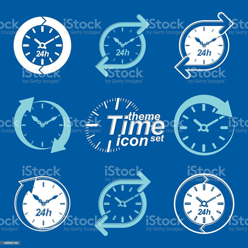Set of graphic web vector 24 hours timers, around-the-clock flat vector art illustration