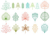 Set of graphical line trees and leaves, signs, symbols and symbols.
