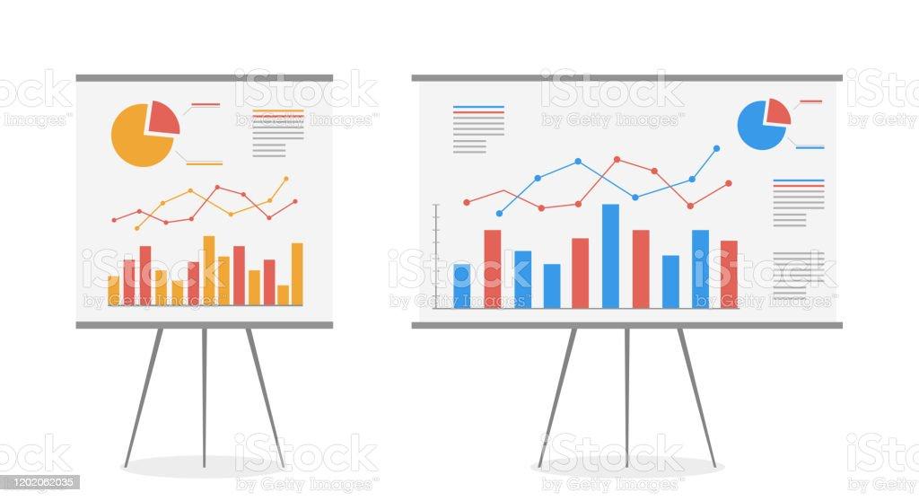 Satz von Diagrammen auf dem Whiteboard-Vektor-Cartoon. Statistik Datenanalyse Geschäft, Vektor. - Lizenzfrei Analysieren Vektorgrafik